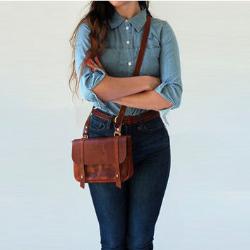 The Seafarer Bag- Horween leather crossbody bag- cognac