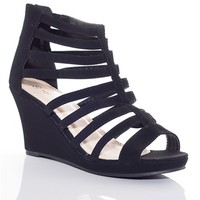 Strappy Open Toe Gladiator Wedge Sandals - Black