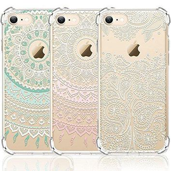iPhone 7 Case, iPhone 8 Case, CarterLily [3-Pack] Clear Colorful Mandala Henna White Flower Cute Art Pattern TPU Rubber Flexible Slim Skin Soft Scratch Resistant Case for iPhone 7 iPhone 8 4.7 inch 01