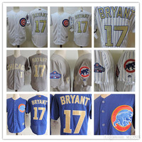 Mens Chicago Cubs 2017 White Gold Program Flex Base Players Baseball Jersey stitched Royal blue gray 17 Kris Bryant Cubs Cool Base Jersey