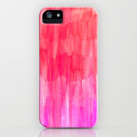 Hot Pink, Melon & Magenta Watercolor Abstract iPhone & iPod Case by Perrin Le Feuvre