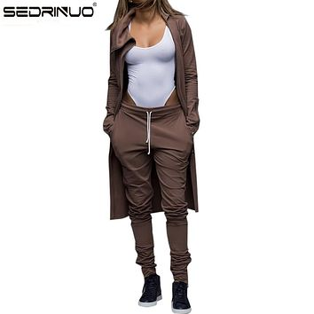 Women Winter Sexy Club Zipper Jumpsuit High Collar Regular Playsuit Two Piece Outfits Crop Long lace-up Pants Set For Women