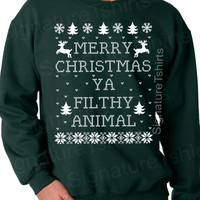Merry Christmas Ya Filthy Animal - sweat shirt - Christmas sweater - Christmas crew - Christmas sweatshirt - forest green - Christmas gift