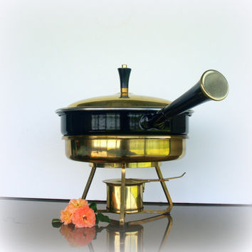 VINTAGE CHAFING DISH - Great Fondue Pot or Warming Pan - Lovely Gold Tone Brass and Black Enamelware - Elegant Serving Pieces