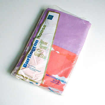 Burlington House Pillowcases Set in Package Vintage Purple White Orange-Pink Colors New Old Stock