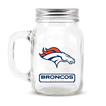 Denver Broncos NFL Mason Jar Glass With Lid