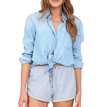 Light Wash Denim Button Down at Blush Boutique Miami - ShopBlush.com : Blush Boutique Miami – ShopBlush.com