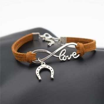 2017 Europe and America Popular Women's Valentine's Day LOVE Infinity Jewelry Cute Horseshoe Horse Hoof Charms Leather Bracelet
