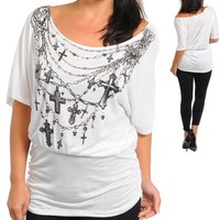 NEW 1X 2X or 3X Plus Size White Cross Silver Foil Bling Top Shirt Off Shoulder