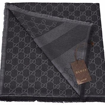 Gucci XL Wool Silk Blend GG Guccissima Logo Scarf (Black/Grey)