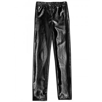 New Kid Girls Fashion Breathable Stretch Metallic Color Faux Leather Leggings