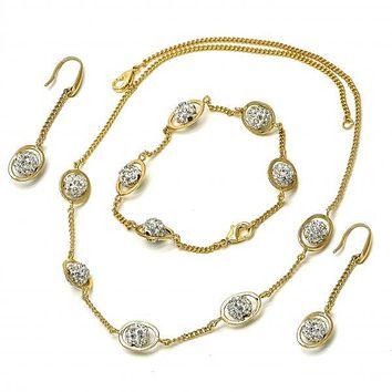 Gold Layered 06.59.0090 Necklace, Bracelet and Earring, Ball Design, with White Crystal, Golden Tone