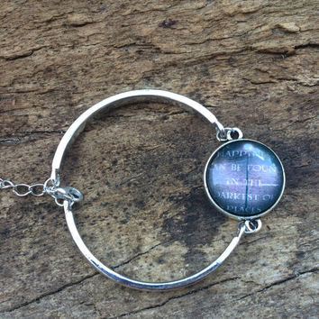 "Harry Potter Bangle Bracelet, ""Happiness can be found in the darkest of places"" Dumbledore Quote Bracelet"