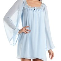 Aqua Lace & Chiffon Shift Dress by Charlotte Russe