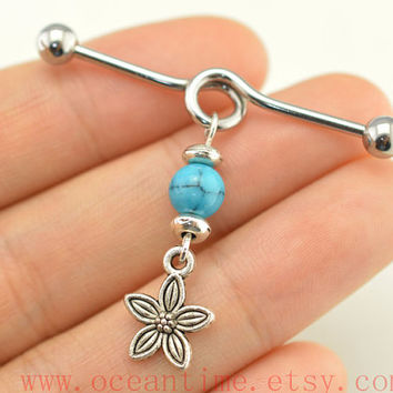 turquoise bead industrial barbell piercing,little flower industrial barbell earring jewelry,cool earring,christmas gift