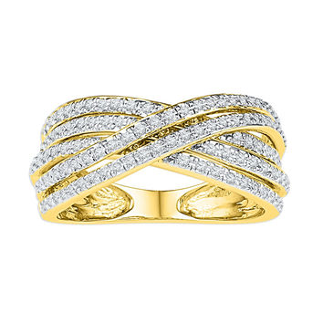 10kt Yellow Gold Womens Round Diamond Crossover Five Row Band Ring 5/8 Cttw 108781