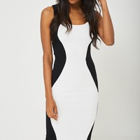 Contrast Dress in Black and White