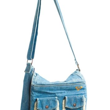 Vintage Y2K Truckin' Denim & Shearling Cross-Body Bag