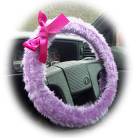 Pretty lilac fuzzy car steering wheel cover with Barbie Pink Satin Bow cute and fluffy