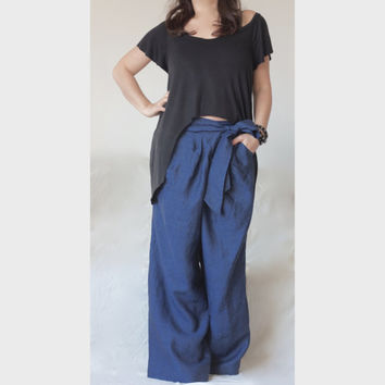 Loose Wide Leg Pants / Adjustable Waist / Drop Crotch Oversize Pants / XXL XXXL Extravagant Style Pants High Quality Italian Linen Fabric