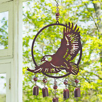 Rustic Woodland Eagle Wind Chimes Bells Outdoor Wildlife Yard Garden Home Decor