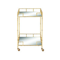 Contemporary Metal Mirror Bar Cart