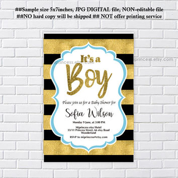 baby Shower, it's a BOY, boy baby shower, blue, black and gold invitation, white and gold invitation,  party invitation - card 1222