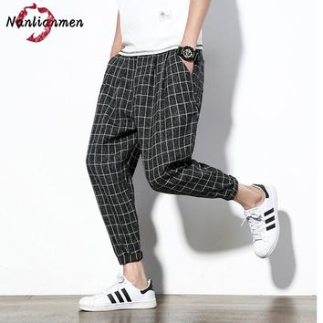2017 Promotion Flat Mid New Ankle-length Plaid Casual Pants Mens Joggers Lightweight Summer Pantalones Hombre Pantalon Chandal