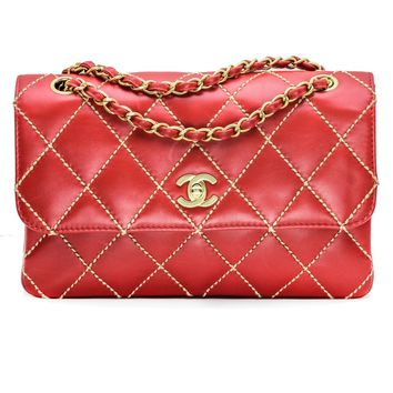 Chanel Medium Classic Quilted Flap Bag in Red Leather with Beige Wild Stitch