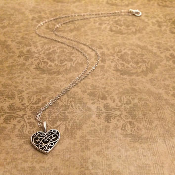 Heart Necklace, Filigree Love Heart Necklace, Sterling Silver,925 Sterling Silver, Real Silver Chain, Silver Necklace, Vine Heart Necklace