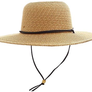 Simplicity Women's UPF 50+ Wide Brim Braided Straw Sun Hat with Lanyard