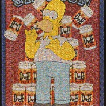 Homer Simpson Duff Beer Photomosaic 2002 Poster 24x36