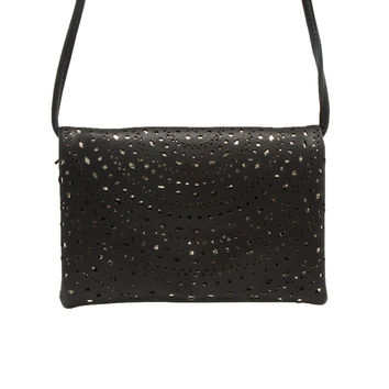 Starlight Laser Cut Handbag In Black