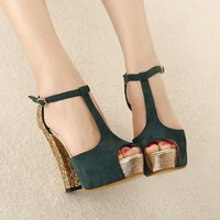 Top Selling Platform Chunky Heels Peep-toe Women Shoes
