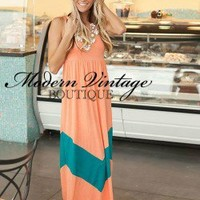 MVB Mint and Coral Color Block Chevron Maxi Dress | Dresses - Modern Vintage Boutique