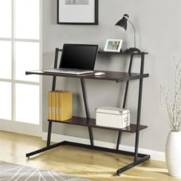 Altra Furniture Computer Desk with Riser and Lower Shelf, Cherry and Black Finish
