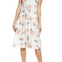 BB Dakota Lila Floral Print Midi Dress | Nordstrom