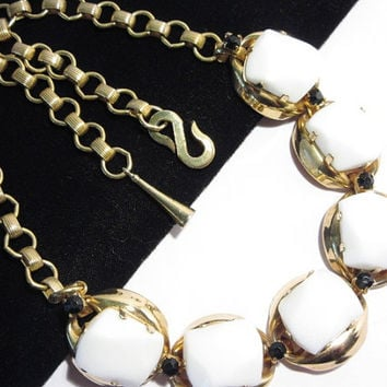 Schiaparelli Necklace Large White Glass Nugget Stones Goldtone Vintage 50s