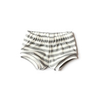 Organic Baby Shorties in Gray Stripes