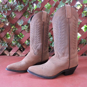 Justin Diamond J cowboy boots /  Womens US size  7 / EU 37.5 / tawny brown nubuck leather western boots / tall suede leather boots