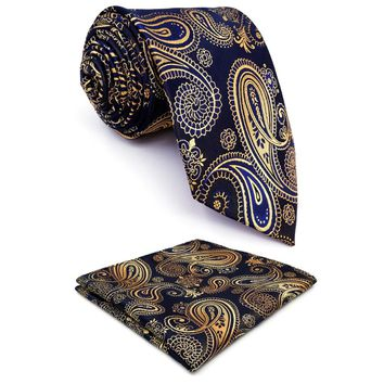 U10 Paisley  Gold Blue Navy Mens Neckties Extra Long Size Matching Hanky100% Silk Casual Dress Men Ties Designers Fashion 63""
