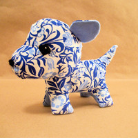 Dog Plush Stuffed Animal Blue and White- Felicity