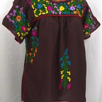 """La Lijera"" Embroidered Peasant Blouse Mexican Style -Chocolate Brown + Rainbow"