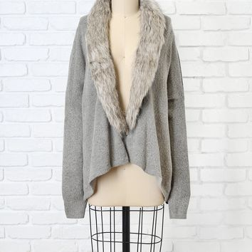 Gray Faux Fur Cardigan