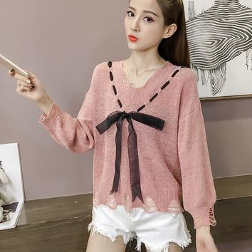 DoreenBow Autumn Winter Women Sweater New Fashion Knitted Ladies Long Sleeve O Neck Ribbon Bowtie Outerwear Pullovers, 1 Piece