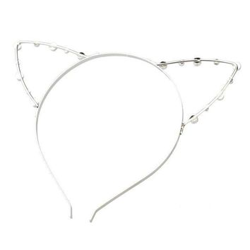 Syb 2016 New Korean Cat Ear Party Pearl Crystal Rhinestone Headband Headwear Punk Hair Wrap Silver