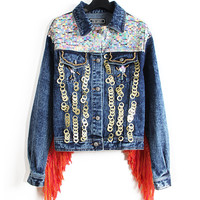 Denim Sequins Embroidered Fringed Long-Sleeve Button Collar Jacket