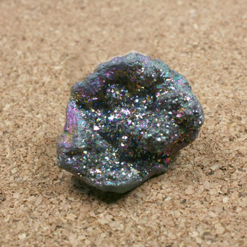 Titanium Druzy Agate Pendant - Irregular Rough Blue, Pink and Yellow Top Drilled Focal Bead