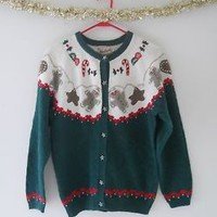 Gingerbread Vintage Ugly Christmas Sweater Women Small Cardigan Cotton Woolrich