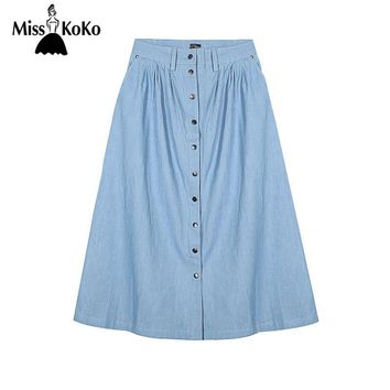 Misskoko Summer Autumn Women Skirts Casual Single-breasted Denim Midi Skirt Brief Style Sexy Street  Female Skirt